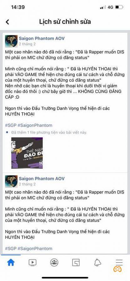 Một bài đăng thiếu chuẩn mực của Admin fanpage Saigon Phantom