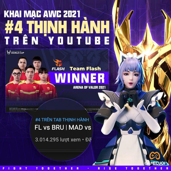 Khai mạc AWC 2021 đạt #4 trending Youtube Việt Nam