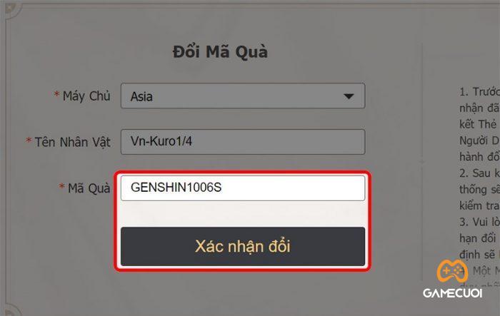 Hướng dẫn chi tiết cách nhập Giftcode Genshin Impact