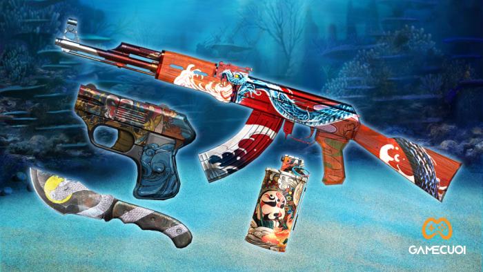 Bộ báu vật Holy Sea với AK47, COP 357 Derringer, Jungle Knife và Flashbang.