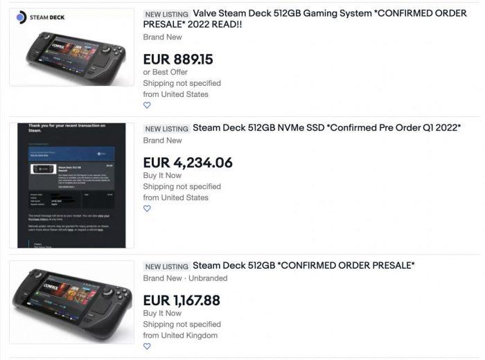 Ebay listing for Steam Deck 1480x1099 1 Game Cuối