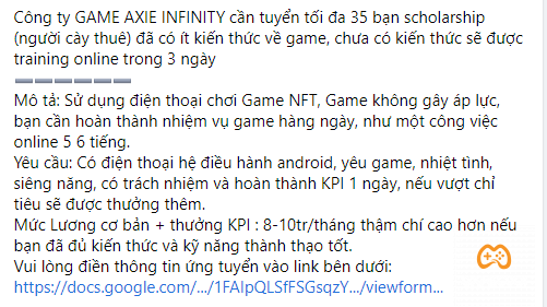 """Thực hư câu chuyện """"cày thuê"""" Axie Infinity kiếm 10 triệu/ tháng"""