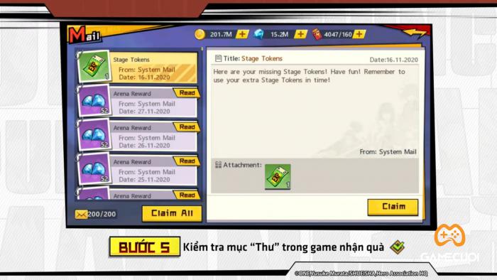Kiểm tra mục thư trong game để nhận quà