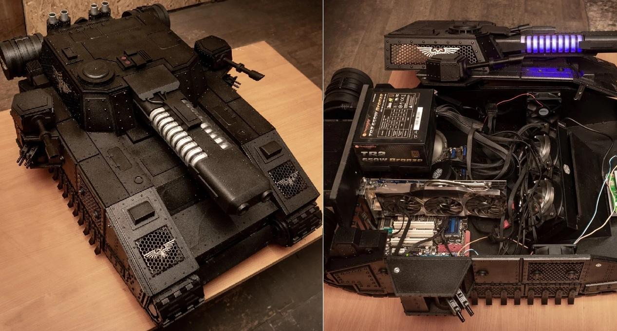 Chiêm ngưỡng chiếc case PC hình xe tăng Warhammer 40k dũng mãnh