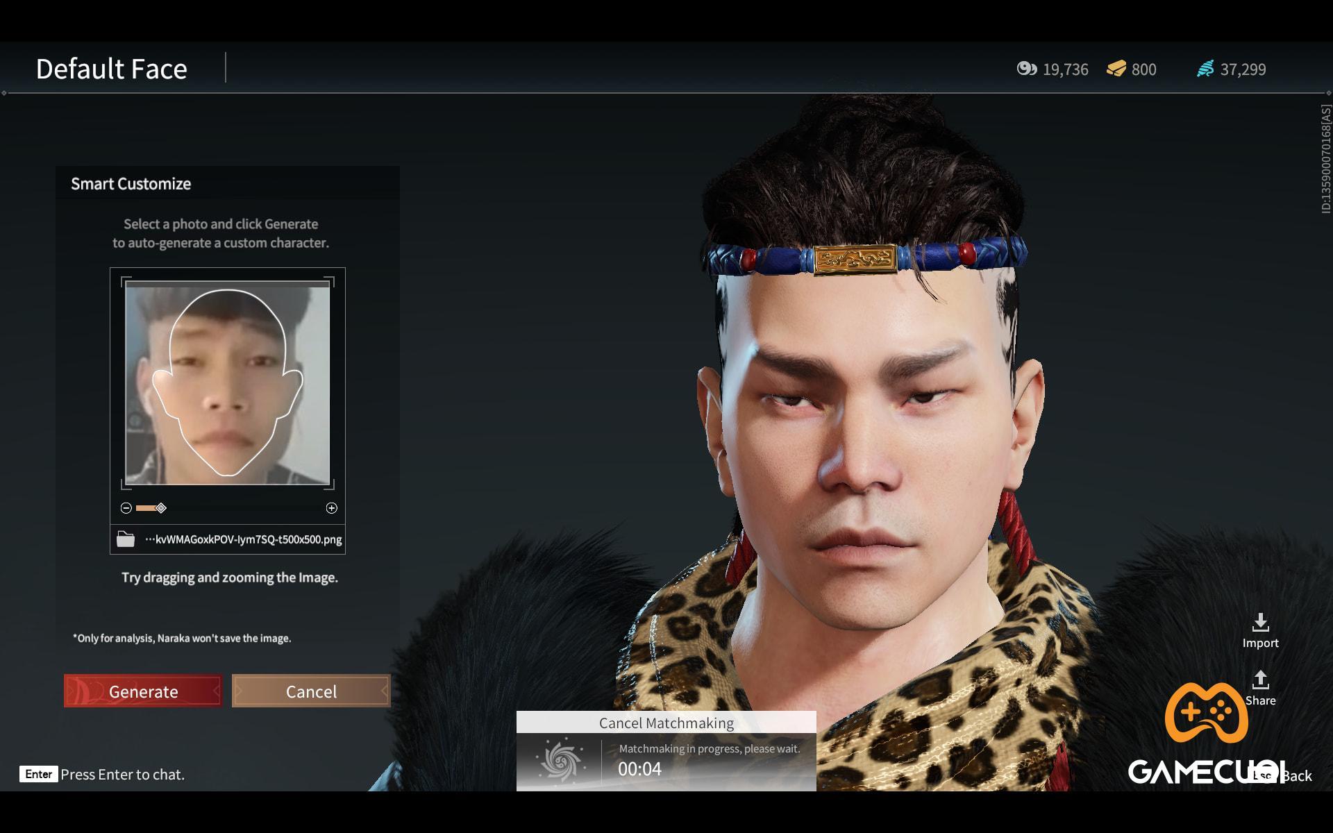 Thích thú với tính năng tùy chỉnh khuôn mặt theo hình có sẵn trong NARAKA: BLADEPOINT
