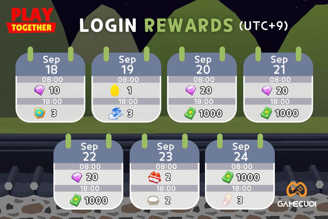 Nhận quà Play Together hằng ngày bằng cách đăng nhập từ 18-24/09/2021