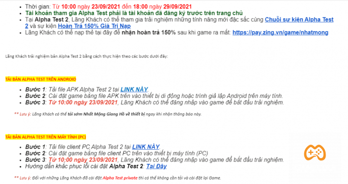 nhat mong giang ho alpha test 2 mail 1 Game Cuối