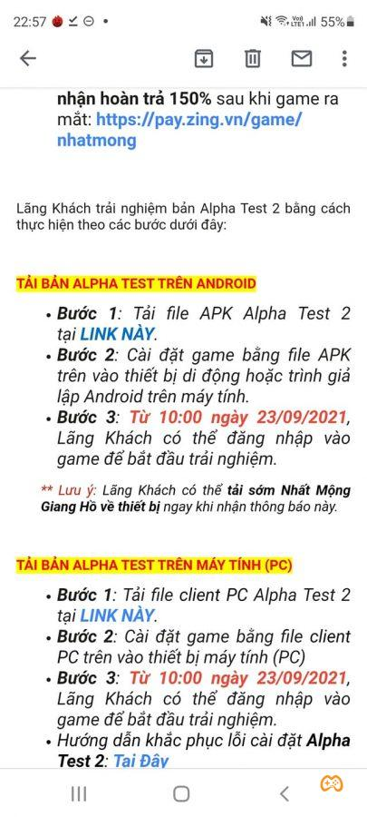 nhat mong giang ho alpha test 2 mail Game Cuối